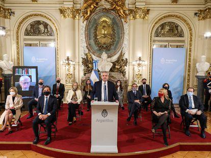 El presidente de Argentina, Alberto Fernández, presenta en la Casa Rosada un proyecto de reforma de la Justicia.