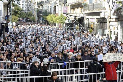 Acto por el 22 aniversario del atentado a la AMIA en Buenos Aires.