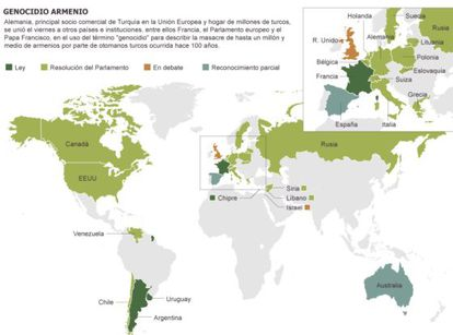 Mapa de los países que han reconocido el genocidio armenio.