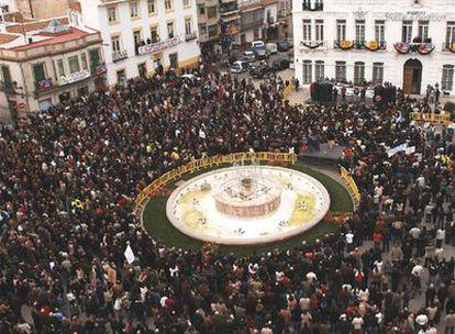 La plaza Mayor de Tomelloso, abarrotada el pasado día 3 por la manifestación para pedir una estación del AVE.
