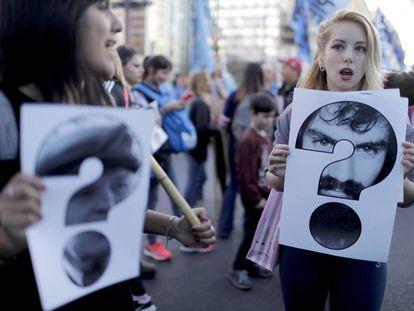 Marcha a 11 años de la desaparición de Julio López, este lunes en Buenos Aires.