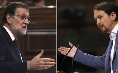 Rajoy e Iglesias, durante el debate.