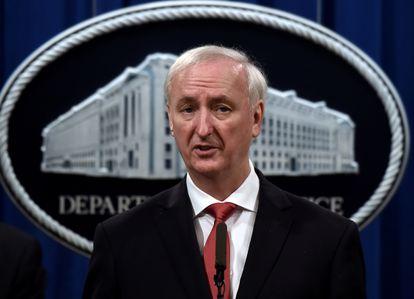 El fiscal general Jeffrey Rosen, en una rueda de prensa en el Departamento de Justicia, en septiembre de 2020.