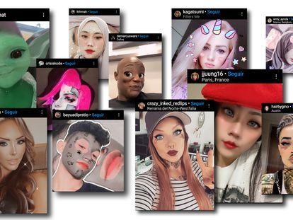Captura de varias imágenes subidas a Instagram con filtros.