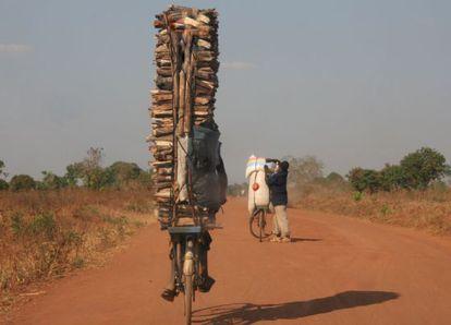 Joven trasladando maderos en su bicicleta en Malawi.