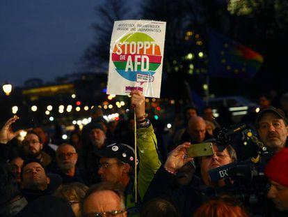 Protesta contra el partido AfD (Alternativa para Alemania), tras el ataque en Hanau, este jueves en Berlín.