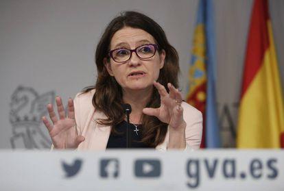 Mónica Oltra, en la rueda de prensa posterio al pleno del Consell.