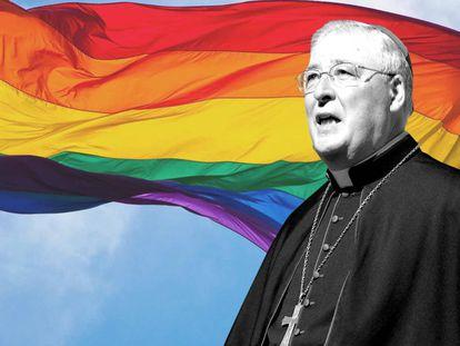 Montaje con una imagen del obispo de Alcalá de Henares (Madrid), Juan Antonio Reig Plà, y una bandera LGTBI al fondo. El religioso es defensor de la terapias de reconversión para homosexuales.