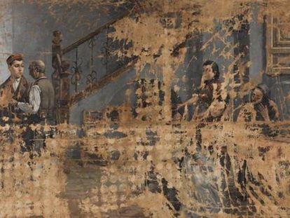 El cuadro 'La marcha del soldado', de Adolfo Sánchez Megías, atribuido originalmente a Concepción Mejía de Salvador con el título de 'Escena de familia'.