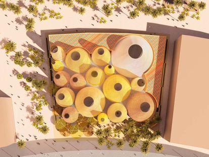 Vista aérea del proyecto del pabellón español para la Expo de Dubái de 2020.