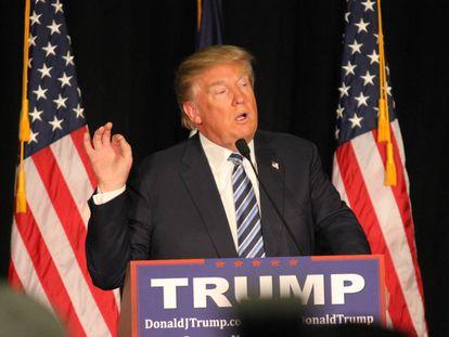 Donald Trump durante su campaña electoral en Iowa.
