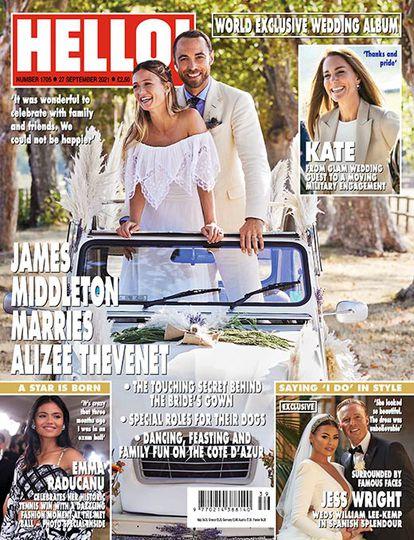 Portada de la revista 'Hola' del 27 de septiembre de 2021, en la que aparecen James Middleton y Alizee Thevenet el día de su boda