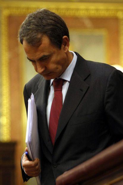 José Luis Rodríguez Zapatero, durante la sesión parlamentaria de ayer en el Congreso.