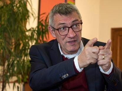 Maurizio Landini, secretario general de la Confederación General Italiana del Trabajo, este viernes en la sede del sindicato en Roma.