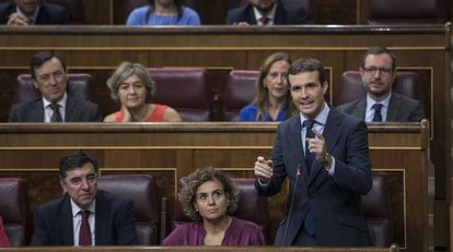 El presidente del Partido Popular, Pablo Casado, en el Congreso de los Diputados.