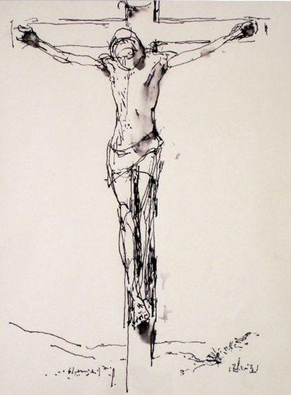 <i>Dibujo de la &#39;Crucifixión&#39;,</i> realizado por John Berger el Viernes Santo de 2008 en la National Gallery de Londres.