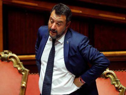 El líder de la Liga, Matteo Salvini, este mes en el Senado.