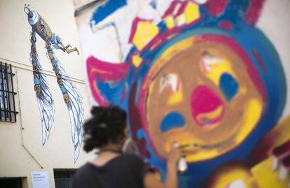 CASTELLON 10072016. FANZARA, PEQUEÑO PUEBLO DE LA COMARCA CASTELLONENSE  DEL ALTO MIJARES, Y LAS FACHADAS DE SUS CASAS DECORADAS POR ARTISTAS INTERNACIONALES DEL GRAFITI Y EL DISEÑO. IMAGEN DEL MIAU 2016.  FOTOS ANGEL SANCHEZ