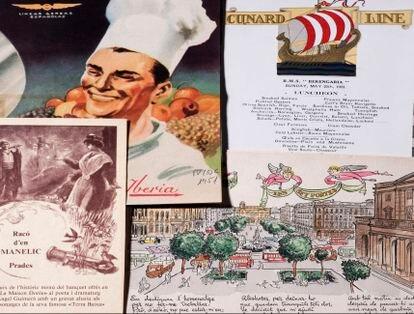 Muestra de algunos anuncios y menús que pueden verse en la exposición 'La flor de totes les cuines', en la Biblioteca de Catalunya.