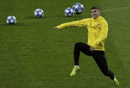 Pulisic, en un entrenamiento con el Dortmund