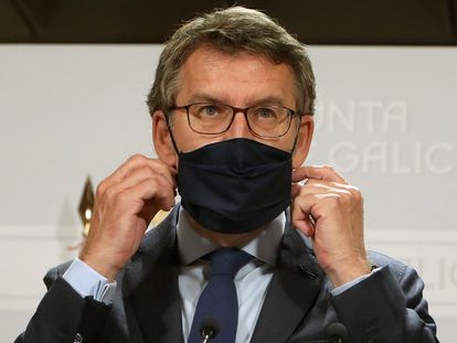 Alberto Núñez Feijóo, la semana pasada en la rueda de prensa tras la reunión del gobierno gallego.