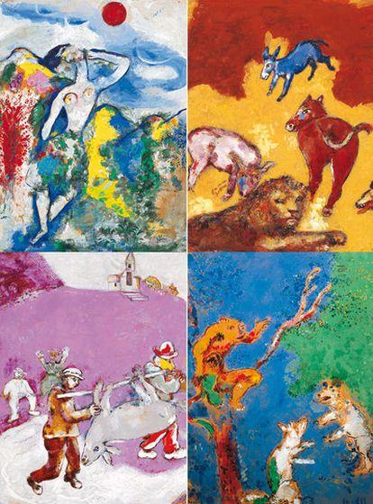 Ilustraciones realizadas  por Marc Chagall entre 1926 y 1927 para las fábulas de La Fontaine y que ahora se publican en Italia por primera vez.