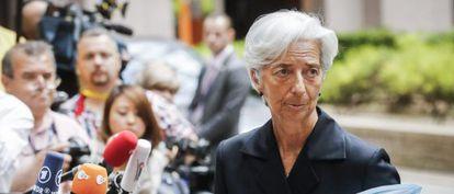 La directora gerente del FMI, Christine Lagarde, a su llegada el pasado domingo a la reunión del Eurogrupo