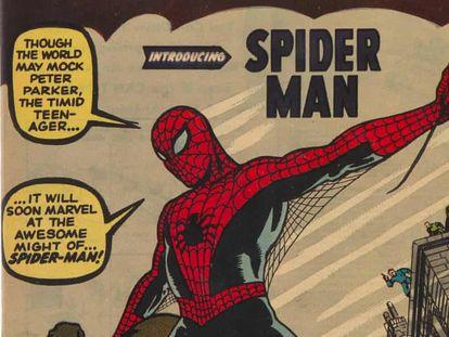 Detalle de la portada del 'Amazing Fantasy # 15', primera aparición de Spiderman.