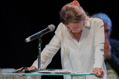 Ingrid Betancourt cuando confrontó cara a cara a las FARC en una intervención en la Comisión de la Verdad.