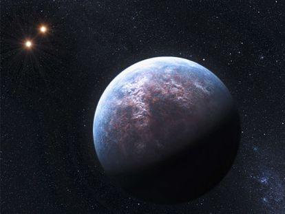 Recreación de un exoplaneta y la doble estrella sobre la que gira.