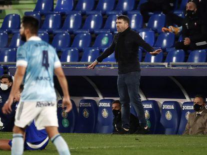 Eduardo Coudet durante el partido entre el Celta y el Getafe.