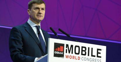 Andrus Ansip, vicepresidente de la Comisión Europea, en Mobile World Congress de Barcelona, el pasado 28 de febrero.