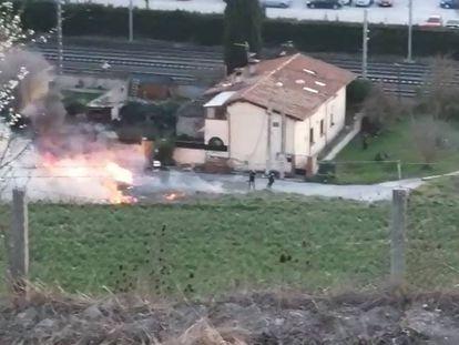 Imagen del accidente de una avioneta en Noáin (Navarra).
