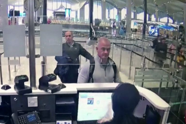 Michael L. Taylor and Georg-Antoine Zayek, in a December 2019 security image of the Istanbul airport.