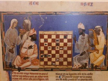 Lámina del 'Libro de xadrez, dados y tablas, de Alfonso X El Sabio (1283)