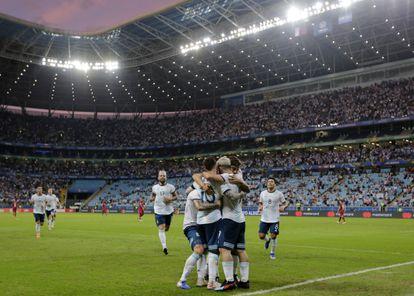 Argentina's national team celebrates a goal in the 2019 Copa América, held in Brazil.