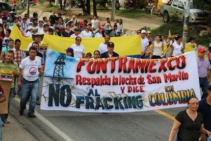 Algunos de los manifestantes en contra del fracking en Colombia, una lucha que lleva activa 10 años.