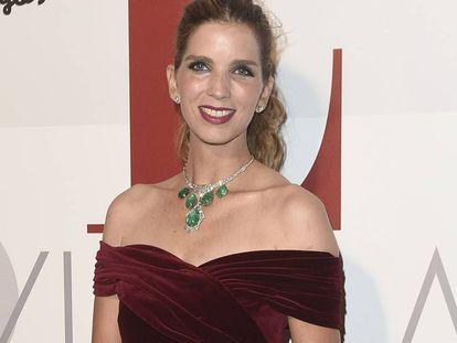 Margarita Vargas, esposa de Luis Alfonso de Borbón, con el collar de esmeraldas de los Franco en 2016.