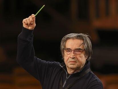 Riccardo Muti, durante un ensayo del 27 de diciembre para el Concierto de Año Nuevo de 2021.