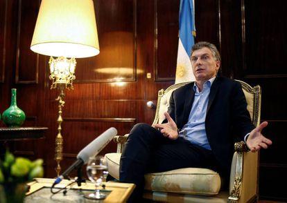 Mauricio Macri durante una entrevista en Casa Rosada, el 8 de agosto de 2016.
