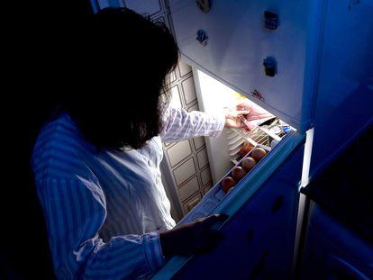 Una mujer abre la nevera durante la noche.
