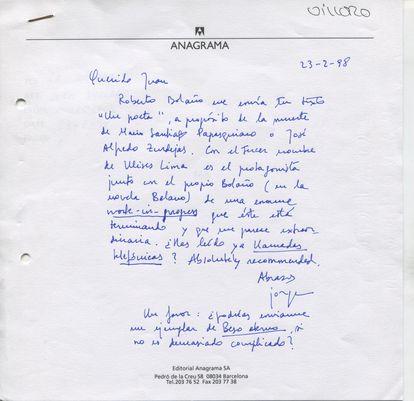 Carta a Juan Villoro comentando la obra de Roberto Bolaño. Febrero de 1998.