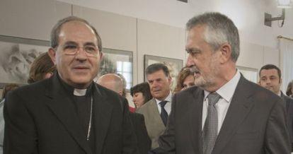 Juan José Asenjo y José Antonio Griñán, en el Parlamento.