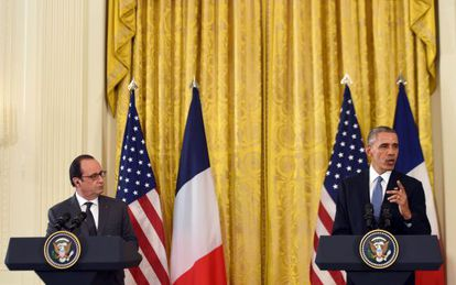 El presidente Obama junto a su homólogo francés en la Casa Blanca.