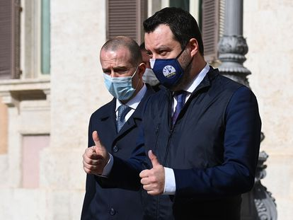 El líder de la Liga, Matteo Salvini, tras el encuentro con Draghi este sábado.