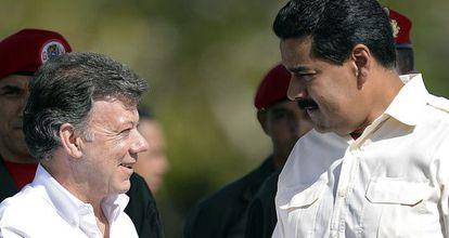 Santos y Maduro en Venezuela en 2013.