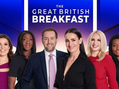 El equipo del programa matinal de GB News.