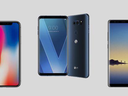 De izquierda a derecha, los tres mejores móviles de gama alta de 2017 según nuestra valoración media: iPhone X (9,5), LG V30 (9,25) y Samsung Galaxy Note 8 (9,25).