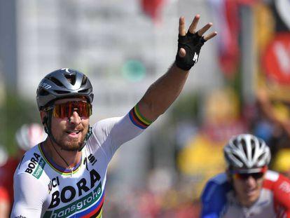 Peter Sagan celebra su victoria en la segunda etapa del Tour.