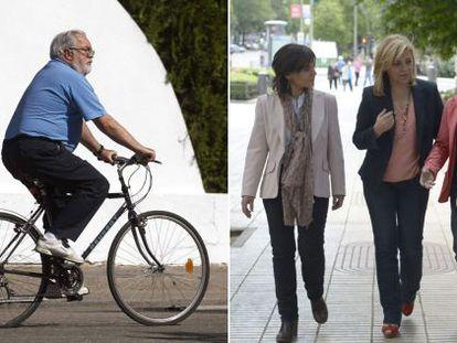 Cañete monta en bici en la jornada de reflexión, mientras Valenciano pasea con sus hermanas.